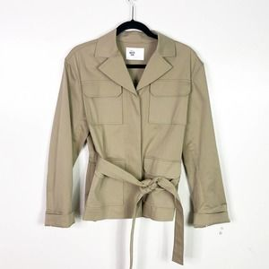 Becken Belted Khaki Button Down Jacket Medium